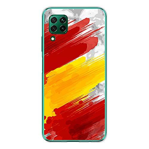 BJJ SHOP Funda Transparente para [ Huawei P40 Lite ], Carcasa de Silicona Flexible TPU, diseño: Bandera españa, Pintura de brocha sobre Fondo Abstracto