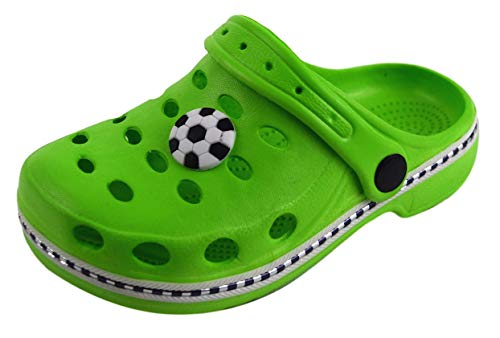 Kinder Clogs & Pantoletten Hausschuhe Badeschuhe (28/29, Grün/Fußball)