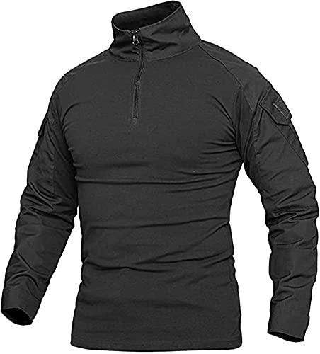 Czen Camisa táctica militar militar para hombre, de manga larga, con cremallera de 1/4, para senderismo