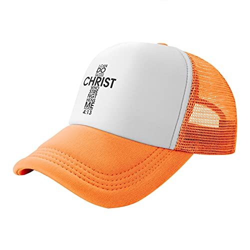 Animecos I Can Do All Things Through Christian Casquette Baseball Cap for Men and Women Trucker Cap Mesh Hats Orange