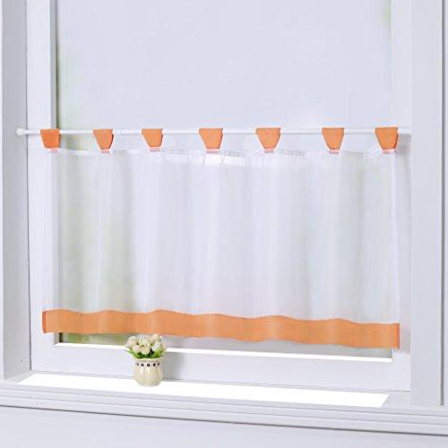 Joyswahl Bistrogardine Voile Schlaufen Scheibengardine Mia Küchen Transparenter Vorhang HxB 45x90cm Orange 1er Pack