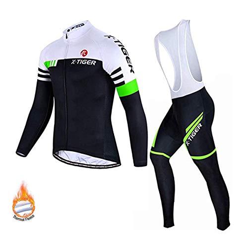 X-TIGER da Ciclismo Maglietta Manica Corta da Uomo + 5D Gel Pantaloncini Corti Imbottiti con pettorina Set di Abbigliamento Ciclista (Verde e Bianco Inverno Maglia+Pettorina Pantalone, XL (CN)= L(EU))