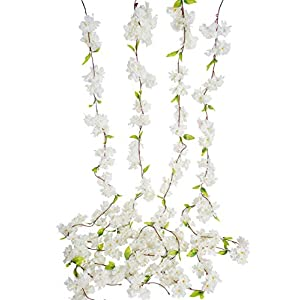 Artificial Cherry Blossom Vine White Petal Flower Forever Plant Garland for Art Home Decoration Wedding Party Garden Office (Pack of 4)