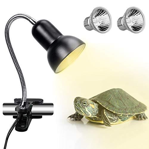 ECOSI Lámpara para Tortuga, UVA de 25W, 360° Rotación Lámpara de Calor Reptil Anfibioss Lámpara de Cristal de Tortuga para Tortuga, Lagartos, Camaleones ect