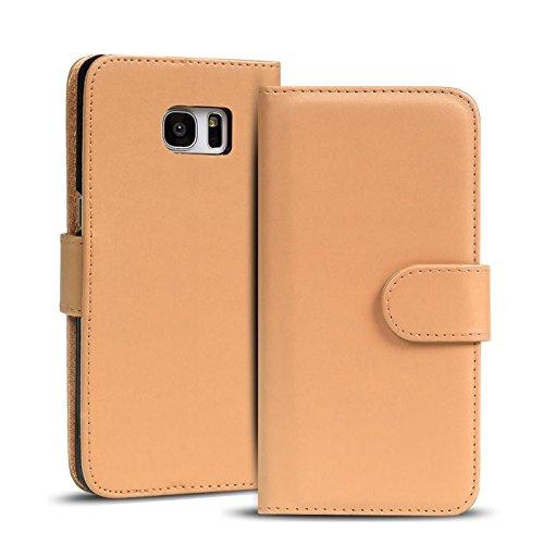 Verco Galaxy S6 Edge Hülle, Handyhülle für Samsung Galaxy S6 Edge Tasche PU Leder Flip Hülle Brieftasche - Beige
