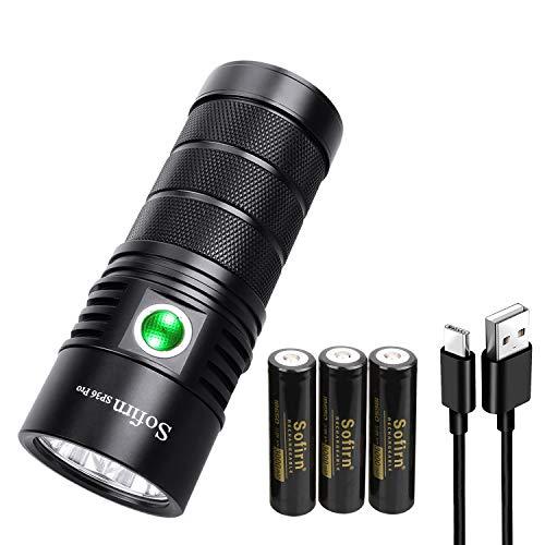 Sofirn SP36 Pro Led Wiederaufladbare Taschenlampe 8000 Lumen leistungsstarke handliche SST40 LEDs mit 3x 18650 Akku Anduril UI mit USB-Kabel zum Suchen, Beleuchten, Wandern