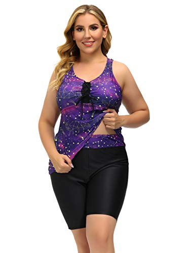 Swimsuits for Vacation Women's Two Piece Tankini Purple Starry Sky Swimwear 16W