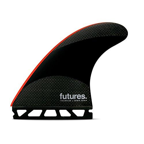Futures Aletas JJ-2 Techflex - Hélice grande, color negro y rojo brillante