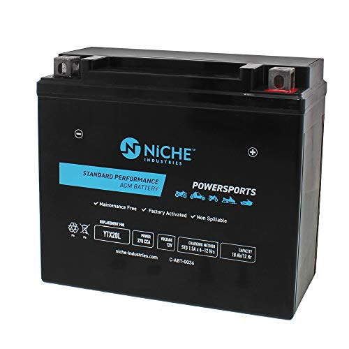 NICHE Replacement AGM Battery for YTX20L-BS Yuasa BRP Can-Am Sea-Doo Honda Yamaha Suzuki Powersports ATV Motorcycle Snowmobile 270CCA 12V Factory Activated Sealed Maintenance Free