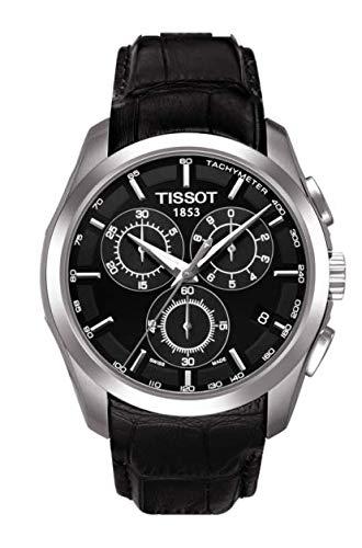 Tissot heren Couturier T035.617.16.051.00 zwart lederen kwarts horloge met zwarte wijzerplaat