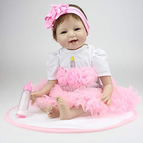 Reborn Body Silikon Vinyl Puppe Schlafender Junge Babys 22 Zoll Magnetischer Mund Lebendiges Baby Echtes Vinyl Bauch Kinder Spielzeug Kinder Geburtstagsgeschenk