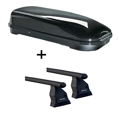 Dachbox VDPFL580 schwarz glänzend 580 Ltr + Dachträger Menabo Tema kompatibel mit Mercedes R-Klasse W251 (Kombi 5 Türer) ab 2005 Stahl