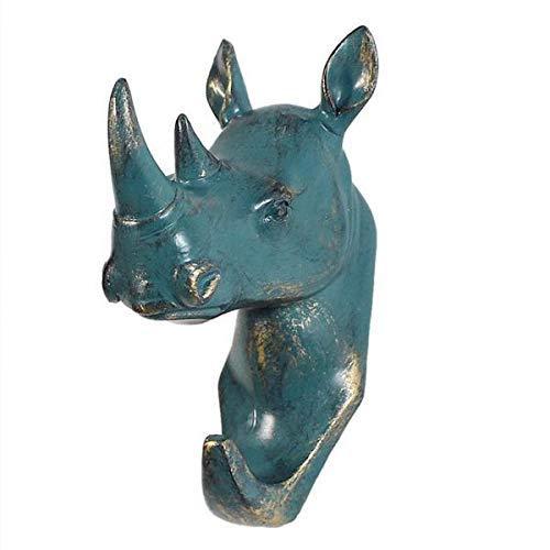 WEHOLY Coat Hook Rhinoceros Head Wall Mount Hanger Resin Coat Hat Hook Rustic Bronze
