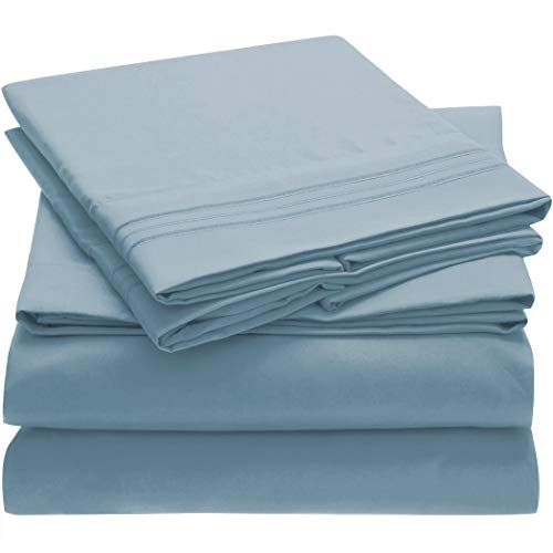 Mellanni Bed Sheet Set  Brushed Microfiber 1800 Bedding  Wrinkle Fade Stain Resistant  4 Piece Queen Blue Hydrangea