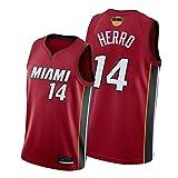 SFVE Camiseta de Baloncesto Tyler-Herro 14# Miami Heat, Uniforme de Las Finales, Adecuado para Fiestas de Camisetas-Red-S