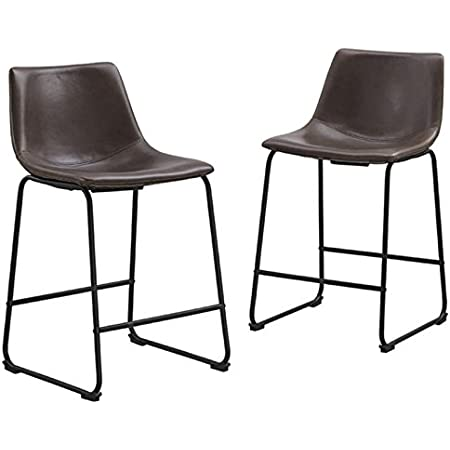 Pemberly Row 26 Faux Leather Counter Stool In Brown Set Of 2 Furniture Decor