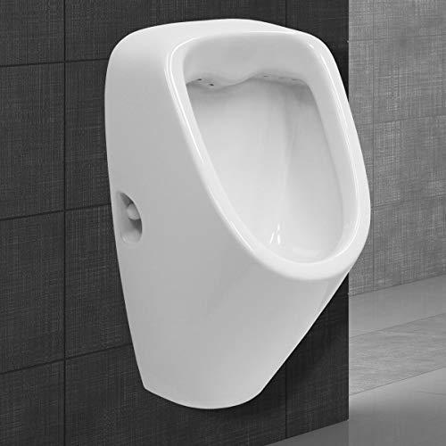 ECD Germany Urinario con Entrada Desde la Parte Posterior - Material Cerámico - Blanco - Diseño Moderno - Lavabo Inodoro - Drenaje Posterior - Sanitario Compacto con Montaje en Pared para Baño Aseos