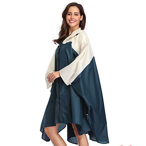 Summer Mae Regen Poncho Jacke Mantel für Erwachsene mit Kapuze wasserdicht mit Reißverschluss im Freien,Einheitsgröße,Blau und Cremig-weiß