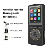 MP3 Player,Music Player 8Gb,Extendable up to 128GB,HiFi Lossless Multifunction MP3 with Burn Music,Voice Recorder,Sleep Timer Long Battery Life(Black)