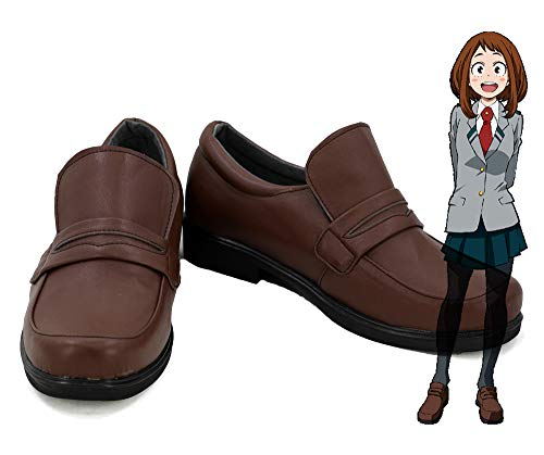 Telacos My Hero Academia Ochako Uraraka Cosplay Schuhe Japanische Uniform Schulschuhe Custom Made, Damen, braun, 9 B(M) US Female