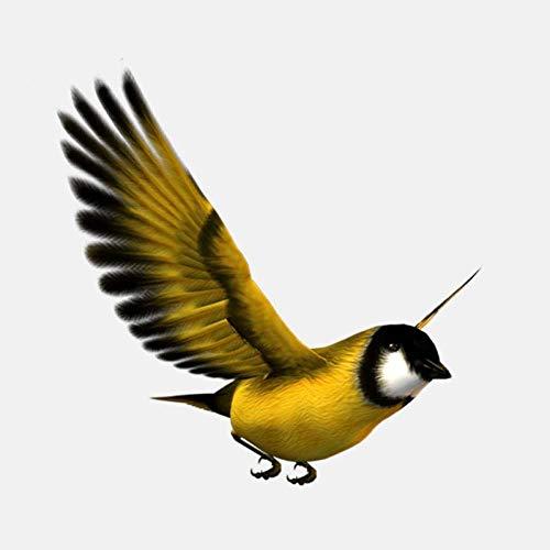 UYEDSR Pegatinas Coche 2pc 11.9cmx11.2cm Encantador pájaro Amarillo Volando en el Cielo PVC Ventana decoración Coche Pegatina