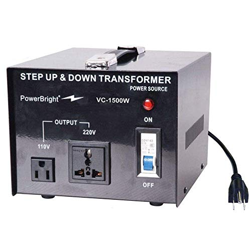 PowerBright Step Up & Down Transformer, Power ON/Off Switch, Can be Used in 110 Volt Countries and 220 Volt Countries, Convert from 220-240 Volt to 110-120 Volt AND from 110-120 Volt to 220-240(1500W)