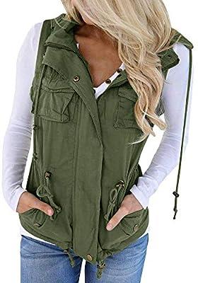Hestenve Womens Jacket Vest Military Hoodie Utility Lightweight Drawstring Zipper Anorak (Small, Z-Green) by