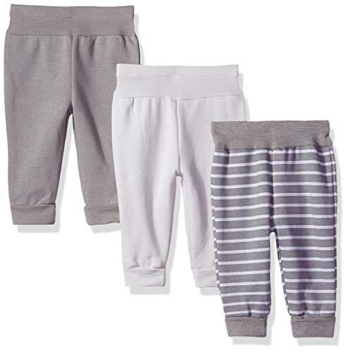 Hanes baby boys Ultimate Flexy 3 Pack Adjustable Fit Fleece Joggers Layette Set, Grey Stripe, 12-18 Months US