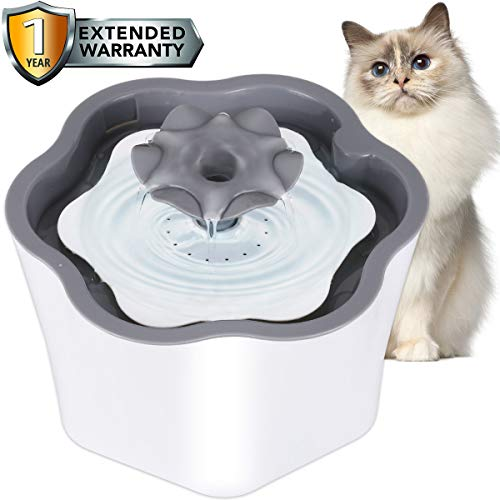 Cat Water Fountain with Filter 2L Intelligent Power Off Removable Washable Pump, Pet Water Dispenser Automatic Drinking Fountains for Cats Dogs Small Animals (White)