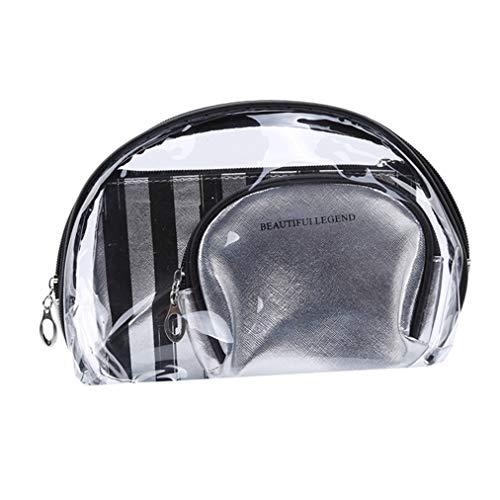 Sevenfly 3Pcs / Set Porte Monnaie Porte clés Sac à cosmétiques Sac de Maquillage Transparent Organisateur, Couleur Argent