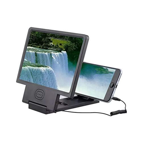 YLYX Teléfono Móvil Lupa De Pantalla 3D HD Amplificador Video Protección contra La Radiación Plegable Inteligente Portátil Universal Soporte para Los Ojos Proyector con Sonido Altavoz,Black