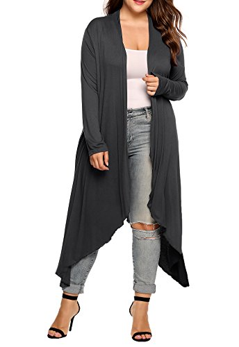 Fashion Design - This women lightweight duster cardigan is long sleeve, open front,high low hem,made of solid soft material,long maxi length. Super Comfy - Made of lightweight and skin friendly fabric,this cardigan can be worn with jeans, high heels ...