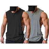 COOFANDY Camiseta sin mangas para hombre, 2 unidades, para el gimnasio, culturismo, musculatura, Negro/Gris (2 Piezas), M