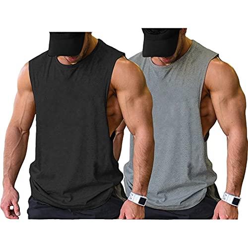 COOFANDY Camiseta sin mangas para hombre, 2 unidades, para el gimnasio, culturismo, musculatura, Negro/Gris (2 Piezas), S