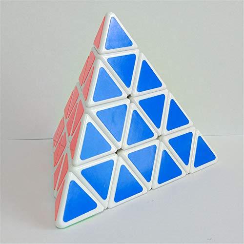 SYLL Pyramid Cube 4x4 en Forma de pirámide Rubik Cube Puzzle Triángulo Puzzle para niños y Adultos Velocidad Suave y rápida Rubik Cube Brain Game,Blanco
