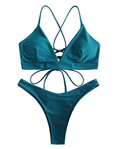 ZAFUL Bikini Set mit Criss Cross Lace-up hinten überqueren Swimsuit Swimwear Bademode Tanga Badeanzug Bikinis-Set Large Pfauenblau