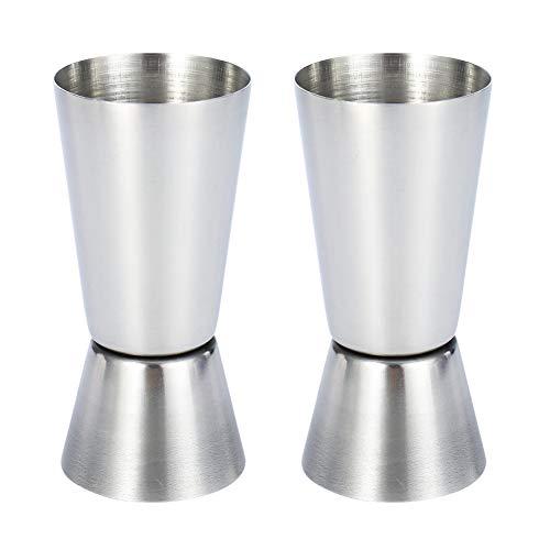 Chutoral 2PCS 25/50 ml Jigger Dual Bar Drinks Measure Stainless Steel Dual Spirit Measure Cup for Bar Party Wine Shakere Stainless Steel Dual Spirit Measure Cup for Bar Party Wine Shaker