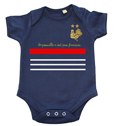 DSTNY Body bébé Coupe du Monde 2018 Impossible n'est Pas français- Bleu Marine (Taille 6-12mois)
