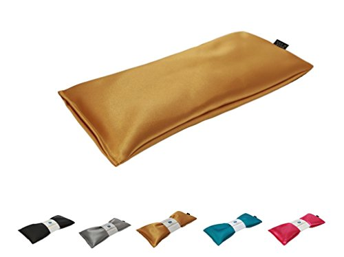 Unscented Eye Pillow - Migraine, Stress & Anxiety Relief - #1 Stress Relief Gifts - Made in USA,! (Gold - Ultra Silky Satin)
