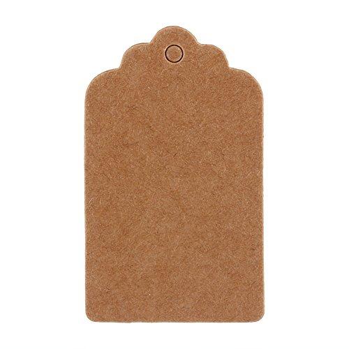 Ladieshow Kraft Paper Gift Tags Wedding Birthday Scallop Label Blank Name Card 100Pcs (5x3cm)
