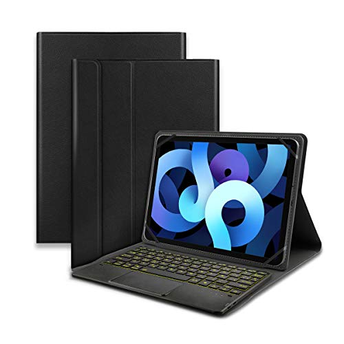 KOOCHUWAH Custodia con tastiera Bluetooth wireless 3.0 QWERTY spagnolo con touchpad – PU protezione per tablet da 9,6'/9,7'/10,1'/10,2'/10,4'/10,5' qualsiasi iOS/Windows/Android Nero