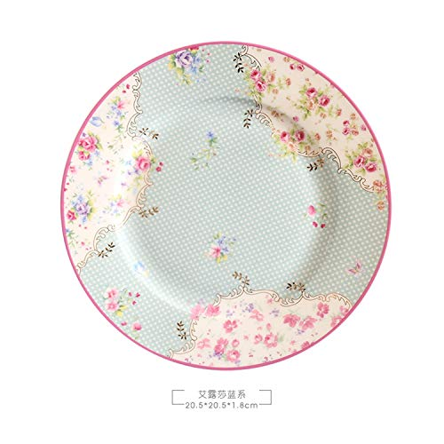 Bone China Cake Dishes and Plates Porcelain Pastry Fruit Tray Ceramic Tableware Steak Dinner Dish Decoration 8 inch Dish,13