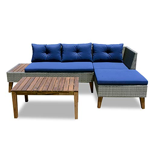Patio Furniture Set - 3 Piece Outdoor Sectional Sofa Manual Weaving Wicker Rattan Patio Conversation Set, Blue Cushion and Solid Wood Table (Grey)