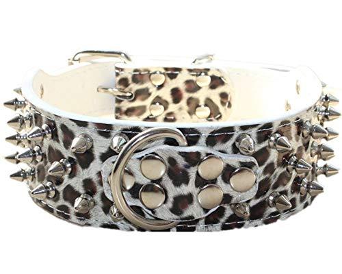 Haoyueer Collar de perro de piel con tachuelas con tachuelas de 5 pulgadas de ancho, elegantes collares de piel para perros medianos y grandes Pitbull … (L, leopardo blanco)
