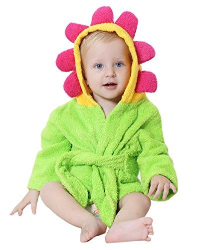 Lexikind Kapuzenhandtuch Baby: Frottee Bademantel - Babyhandtuch mit Kapuze - Kapuzenbadetuch (Blume)