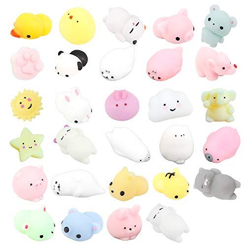 ZoneYan 29 Stück Mini Kawaii Squishy, Squishy Kawaii Tiere, Mochi Squeeze Toys, Kawaii Squishy Spielzeug, Anti Stress Spielzeug Squishy Set, Super weich, 29