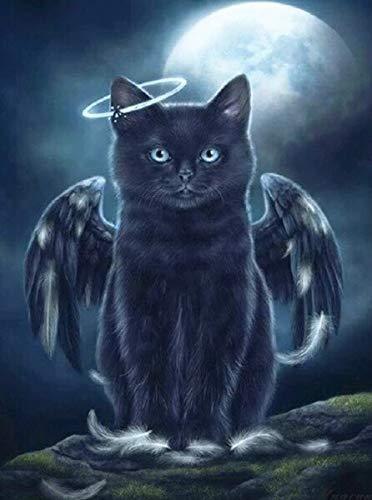 jzxjzx DIY schilderij installatie zwarte rok kat vleugels vierkante meter diamant boor diamant hand borduurwerk decoratie geschenk