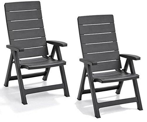 Allibert by Keter Brasilia Reclining Outdoor Garden Furniture Chairs - Graphite