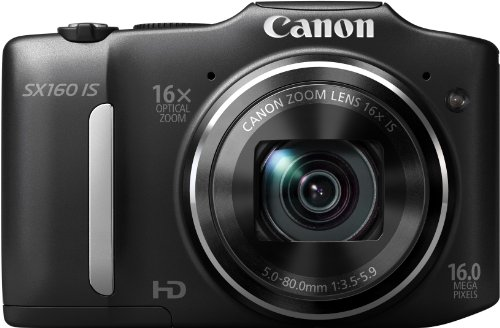 Canon PowerShot SX160 IS Digitalkamera (16 MP, 16-fach opt. Zoom, 7,5cm (3 Zoll) LCD) schwarz
