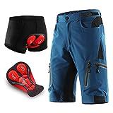 Pantalon Enduro MTB Holgado Transpirable Pantalon Cortos MTB Hombre Impermeable Pantalon Mountain Bike Cintura Ajustable con 7 Bolsillos Ropa de Ciclismo MTB,Dark Blue,S